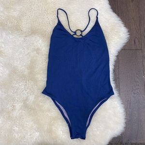 Dolce Vita Solid Cross Back Navy One Piece